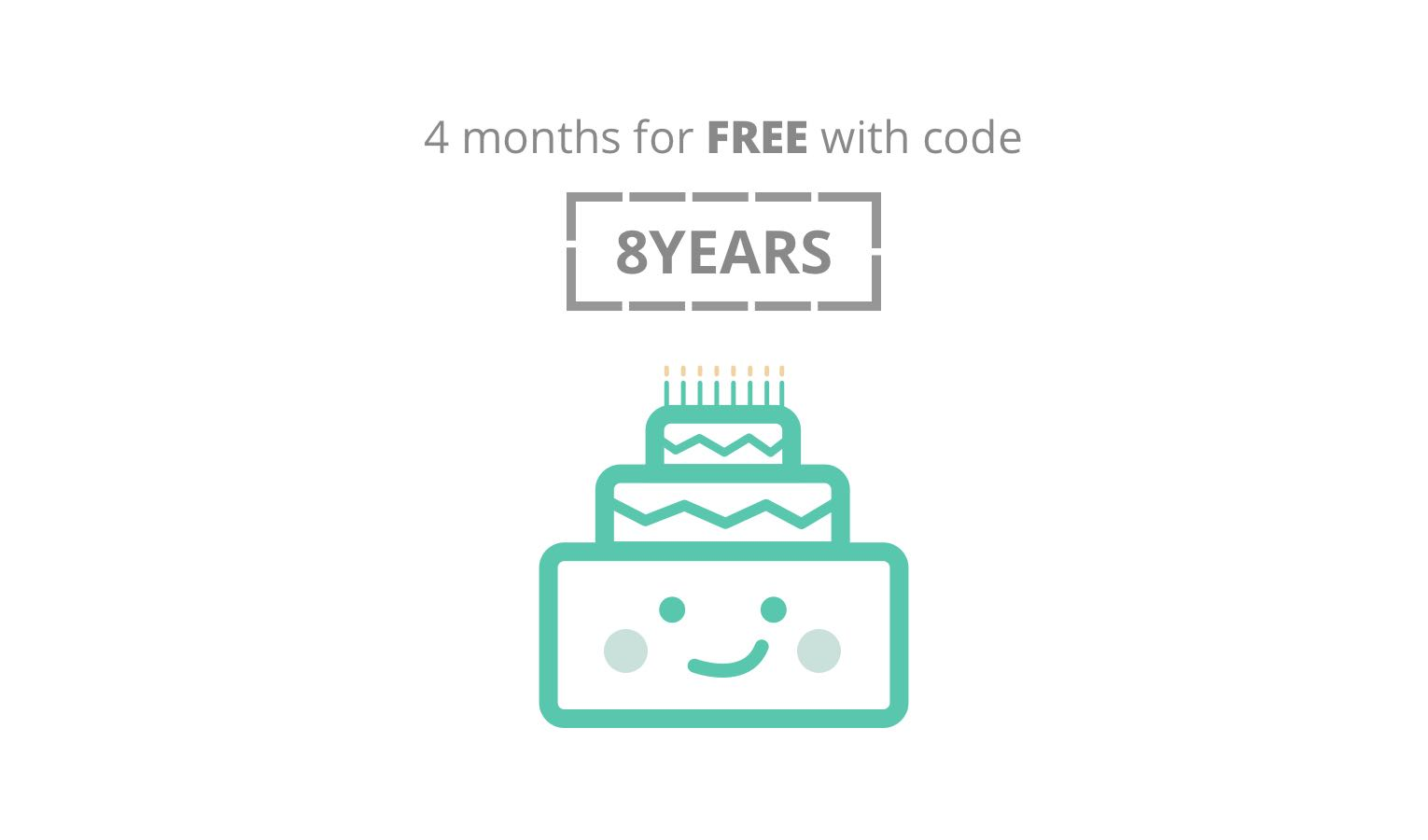 Image of 8th anniversary with coupon code 8YEARS and 4 months free