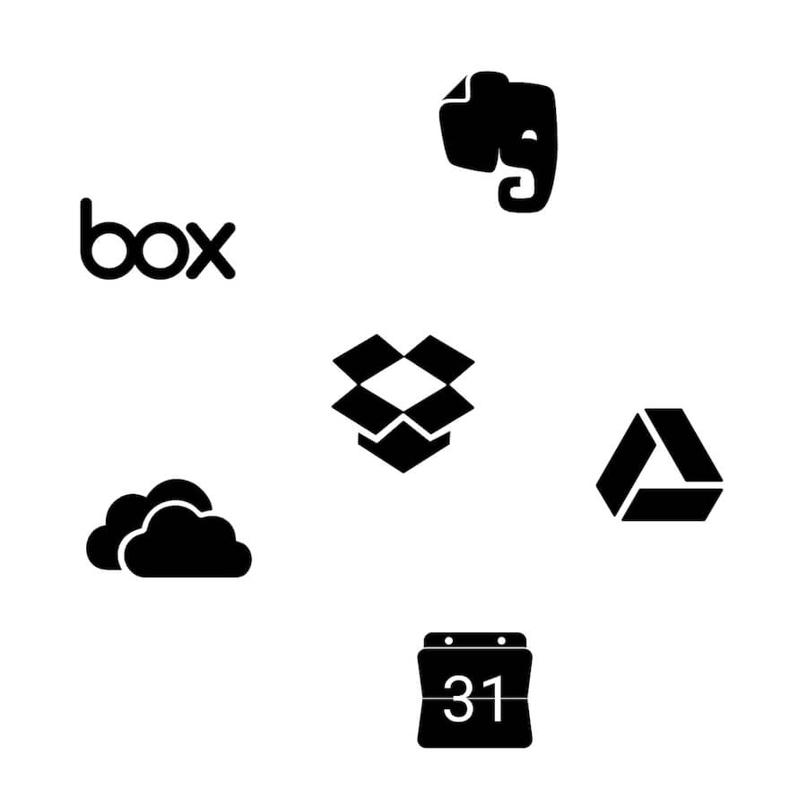 Integration with dropbox, evernote, box, google drive, calendar