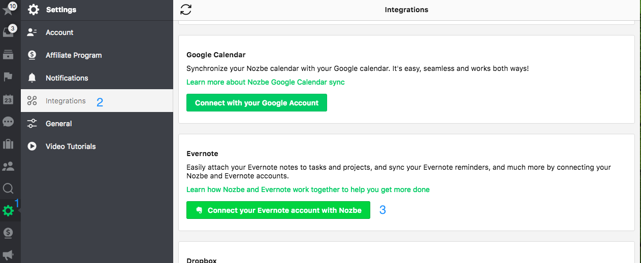 Settings - integration with Evernote