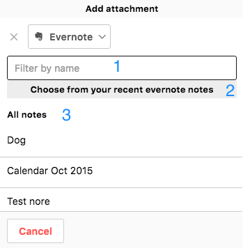 Attaching Evernote to project