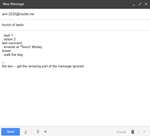 Group of tasks being emailed