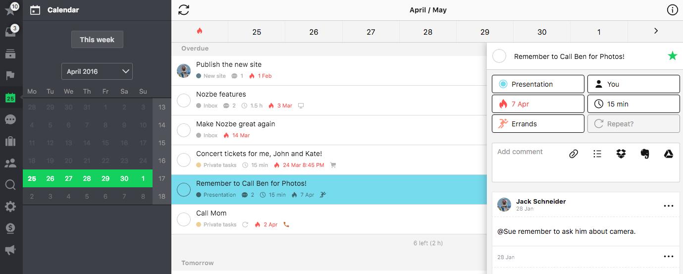 Open task in Calendar