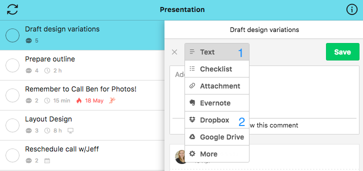 Task attachments -Dropbox