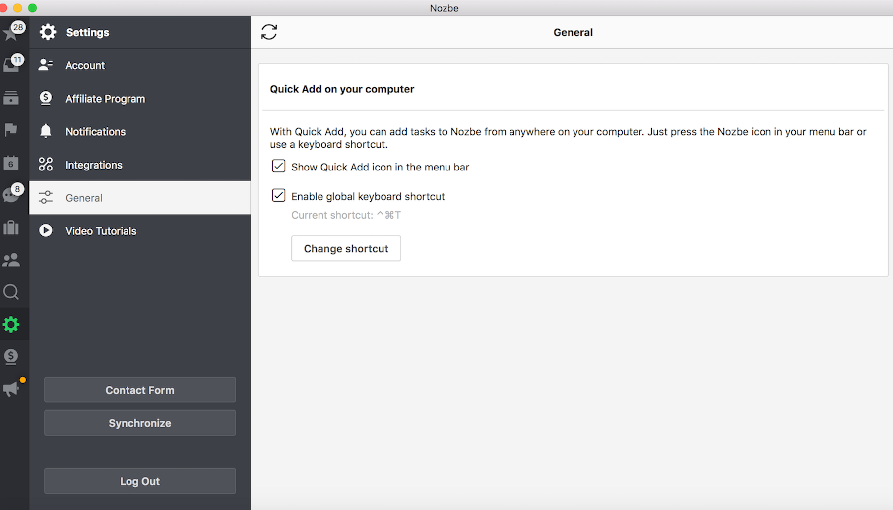 Native app settings OS X