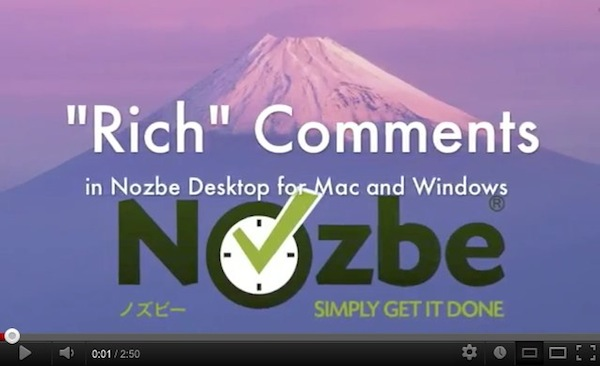 Rich Comments in Nozbe Desktop